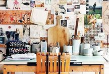 Workspace / Workplaces. Studio scenes. Artists at work.