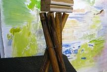 Art, Constructions, Sculpture / One of a series of birdhouse constructions.