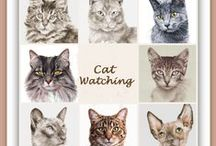 Cat Watching / www.MagaFabler.etsy.com - Extraordinary cat portraits....as well as dog portraits. Also beautiful Tuscan landscapes and abstract art.  Great shop!  20% off sale Nov.27 - Dec.3rd 2015 with coupon code CYBER15 .