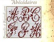 .... Monogrammes . Lettres ... /  Grilles . Lettres à broder . abécédaire . sample . point de croix samplers