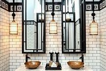 BATHROOMS / Bath, Shower, Sink, Tiles, Marble, Luxury, Modern, Beauty, Spa, Water, Comfortable, Practical, Art Deco, Glass, Curtains, Floor, Metals, Gold, Colour, View, Clean, Fresh, Mirrors