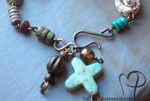 Bracelets / Bohemian Artisan Beaded Handmade Bracelet by MP Designs Jewelry Using Gemstones Swarovski Crystals