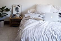 home: bedrooms / places to sleep, rooms to be lazy in, lie in, sleep well, access to the dream world. simple, minimalistic. wall art, pillows, duvets, bedding, throws, rugs, lamps, nightstands,  / by charlotte