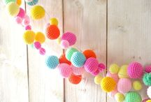 Crochet Party Decorations / Crocheted Party Decorations. Garlands, Cake Toppers, Hats, Yarn Tassels and more