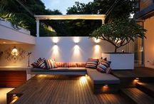 Outdoor living / Outdoors is the new indoors with seating, kitchens & lighting to match