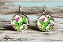 Glass cabochon / pictures behind the glass / jewelry / glass cabochon ...hand made earrings....prints of my original paintings