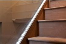 Glass Bannisters / Glass is an often overlooked material in the home, reserved for windows and mirrors. Bored of a wooden bannister or balustrade? Why not use glass instead and even add simple LED lighting - saves creeping up the stairs in the dark! Contact us for more information on sales@batterseabuilders.co.uk
