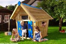 ► playhouses / Start with the low kids playhouse, ideal for little children who can't go into high climbing frames yet. Place the same kids playhouse after a few years on the platform with slide (Playhouse Frame L, XL or CXL) for more playing discoveries such as running, climbing, sliding and spatial skills as they grow older.