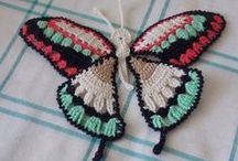 Crochet butterflies and flowers