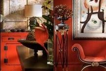 Brown + Red Decor / http://www.judithdcollins.com/