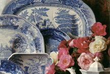 """Toile  and blue willow china/transfer ware / Toile de Joey """"Toile"""" French for linen cloth or canvas, printed with pastoral or scenic  subjects. Originating  in 18th century in the town Jouey-en-Josas in north central France / by Kim Russon"""