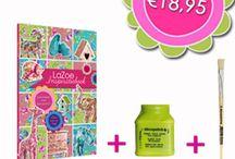 www.lazoe.nl / Webwinkel vol met allerlei vrolijke, hippe en trendy knutselspullen. In het lazoe inspiratieboek staat hoe je met decopatch werkt en wat je ermee kunt doen. + 30 zelfontworpen LaZoe decoratievellen!