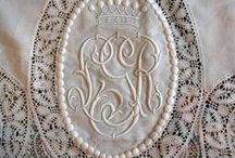 Monograms and vintage Lace / Beautiful! Chrocheted lace, vintage lace, bridal lace. Lace love.