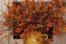 Calabazas, cosas y mesas bonitas de otoño