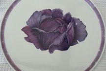 Porcelana y frutas, verduras y vegetales / Dibujos y vajillas con frutas
