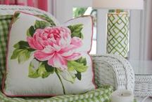 Pink & Green Decor via Pin4Ever / Pink and green home decorating. Bright, cheerful, fun-loving decor ideas for bedrooms, living rooms, dining rooms, or your whole house!