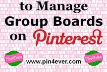 "Pinterest Group Boards / Here are pins with all the information you need about creating, joining, pinning to, and leaving Pinterest Group Boards. If you own a group board, Pin4Ever's Bulk Editing ""Delete"" button lets you remove multiple pins (up to 100-200) in one easy step. Boost your Pinterest traffic by bulk deleting spam pins, or unpopular ones that aren't getting enough repins and likes."