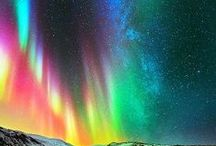 Aurora Borealis / Rainbow colors of the northern skies at night due to Sun eruptions    / by Kathy M. Storrie/writer/author/pinner