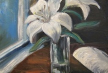 oil paintings by maria melenchuk / White lilies on a table in a vase, Majurska kahvila, Lappeenranta.