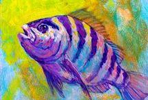 РЫБЫ / Самые интересные картины с рыбами, особенно ценные - с аквариумными) Я большой любитель аквариумистики и рыбалки! Держу дома 5 аквариумов и развожу рыбу!) Поэтому эта тема для меня особенно интересна!