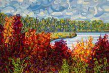 """Mandy Budan / Mandy Budan, канадская художница. Ее техника состоит в том, что она как бы """"разбивает"""" окружающее на мелкие геометрические фрагменты, чтобы потом собрать  полный образ во всех красках.  В основном она изображает природу и пейзажи."""