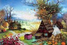 Mijo Kovacic / Мийо Ковачич (Mijo Kovacic) родился 5 августа 1935 года в бедной крестьянской семье. Тяга к рисованию открылась в раннем детстве. Начав рисовать самостоятельно, и, узнав, что в 8-ми километрах живет художник-самоучка Ив.Генералич, Мийо стал ходить к нему пешком, чтобы получить совет и немного поучиться. В настоящее время художник является одним из признанных мастеров наивного искусства на мировом уровне.