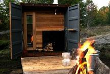 Saunas / Various examples of Finnish style saunas - wood burning, electric or gas fired.