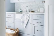 Rustic & Country Laundry Rooms / Treat your laundry to the same care that you take with the interior design of the rest of your home with a Fireclay Single Bowl Sink, sexy taps, and lovely lighting.