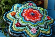 Crochet - tablecloth, runner, pillows & rug