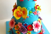 Wedding cakes coloured inspiration board