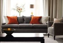 Orange interior colour schemes / Orange is the sociable colour of the spectrum.  People who love orange are outgoing, often urban dwellers who enjoy company and good times.  Orange is a beautiful colour to use with grey and brown and an excellent choice to bring personality to a decorating scheme.