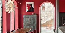 Red interior colour schemes / Red is the first colour that the eye sees and so really makes a statement in a decorating scheme.  The colour red is strong, rich and passionate and is a striking colour choice for interior and exterior schemes.