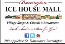 The Shops of the Ice House Mall / Ice House Mall features boutique shops and services; Chessie's Restaurant, Sanctuary Salon and Spa, Travel House, Savvy Spirit Women's Clothing, EwelineB Fashion, Tootsies Shoes Women's and Children, Paris Market Antiques, Bob Moon Jewelry, Barrington Cultural Art Center,  Girl Scout Express, Acacia Organics, Dubin Rarities, Flesk Brewing, Gray Wolf Records, Hammerkraft Home.