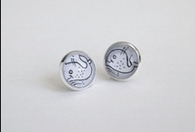 + Life in a bubble / Life in a bubble collection of Handmade illustrated post earrings.