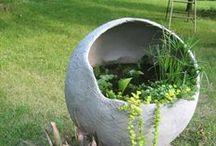 Tuin: Lichtgewicht cement / Garden: Hypertufa / by Gele Muis