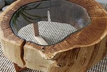 Table basse / Bois brut /ronde/hexagonale /trou au milieu