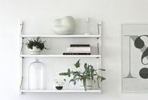 the wall / arrangements for the shelf and wall.