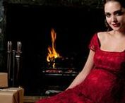 Christmas Reds | Tiffany Rose / This season's trendiest colour is also very festive. Perfect reds for this Christmas season!  Discover award winning maternity and festive maternity dresses at www.tiffanyrose.com