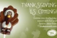 Autumn By Make'n Mold / Celebrate this family holiday with Make'n Mold's Autumn candy molds! Make milk chocolate flavored turkey candy pops, leaves or pumpkin molded candies for an easy holiday dessert after the big feast. Make'n Mold has many different Thanksgiving candy making products to keep your dessert festive.