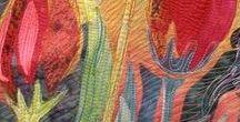 Textilní obrazy - květiny