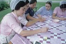 People doing handicraft / Embroidering, knitting, quilting, spinning, sewing people