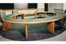 MFI Custom Tables / A grouping of conference tables, telepresence/huddle furniture, and sectional pieces. From simple side tables to technology rich conference set-ups, Marshall Furniture can help design and build the perfect table for applications like collaborative meet-ups, video-conferencing or courtroom proceedings.