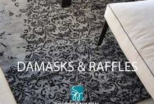 """Damasks & Raffles / """"Raffles"""", our stunning diminishing Damask design is a modern day twist on a classic Damask pattern. Raffles works beautifully in both modern and traditional interiors."""