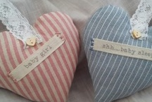 Sweet Hearts for Baby / Hand crafted hanging hearts to decorate your nursery