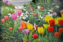 Garden Landscape / Beautiful Garden paintings.