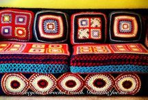RECYCLED ROOM / take your old sofa and clothes and transform it using crochet, take all the money you saved and take a trip :-)