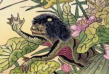 """Guía ilustrada de monstruos y fantasmas de Japón / Estas son las imágenes originales, dibujadas por Sekien Toriyama, que adornan las páginas del libro """"Guía ilustrada de monstruos y fantasmas de Japón"""""""