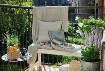 Balcony garden / balcony decor- small garden - pots - herbs  - flowers