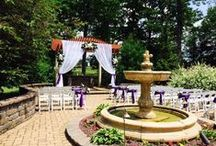"""Ceremonies on the Patio / Outdoor weddings are beautiful at Sand Springs Country Club! The patio features a granite top bar, beautiful fountain, and large pergola for couples to come together to say """"I do""""."""