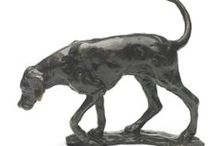 Bronze Dogs, Foxes and Hounds Sculpture by Sue Maclaurin / Limited edition solid bronze sculptures by Sue Maclaurin of foxes and hounds, hand made in Britain and available to purchase at www.nelsonandforbes.co.uk